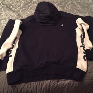 Staple navy blue and white pull over hoodie
